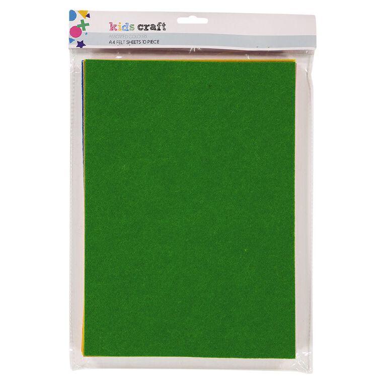 Kookie Felt Sheet 10 Pack Multi-Coloured A4, , hi-res