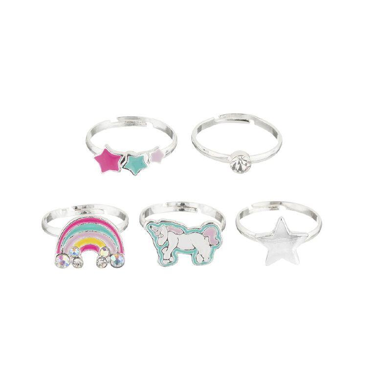 Kids Star Rainbow Ring set, Silver, hi-res