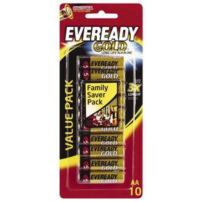 Eveready Gold Batteries AA 10 Pack