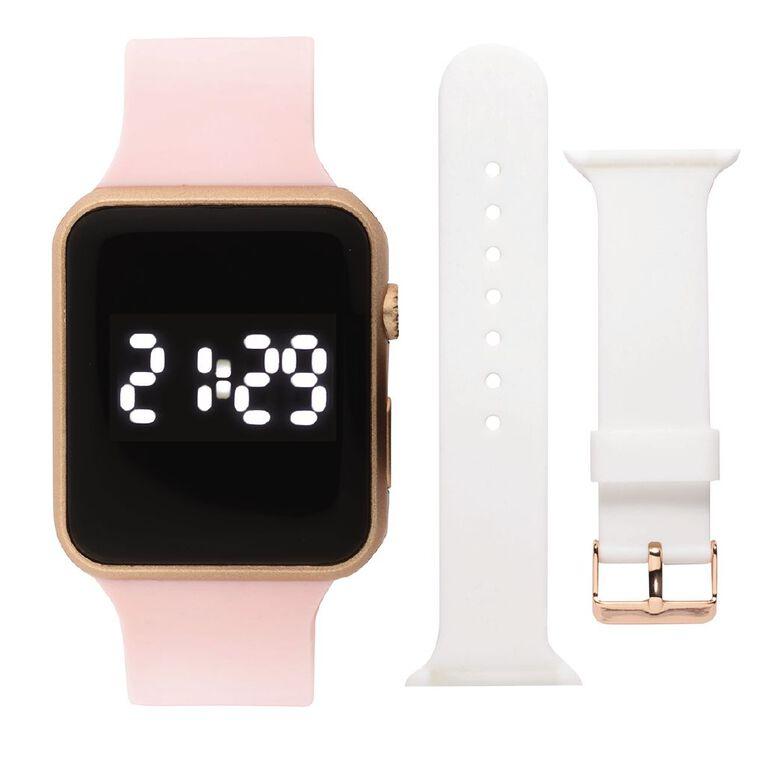 Active Intent Sports Digi Watch Interchangable Silicone Pink/White Strap, , hi-res