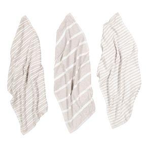 Living & Co Terry Stripe Tea Towel Set 3 Pack Grey 40cm x 65cm