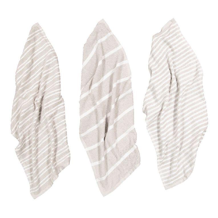 Living & Co Terry Stripe Tea Towel Set 3 Pack Grey 40cm x 65cm, , hi-res