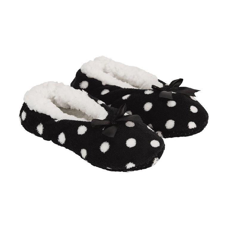 H&H Printed Footlet Slippers, Black, hi-res