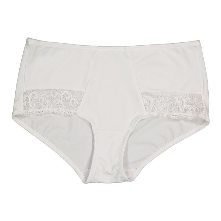 Rose & Thorne Enforme Lace Midi Brief, White, hi-res image number null