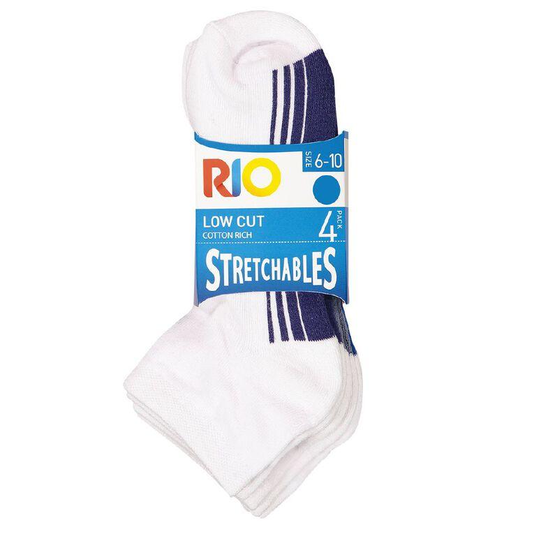 Rio Men's Low Cut Stretchable Socks 4 Pack, White, hi-res