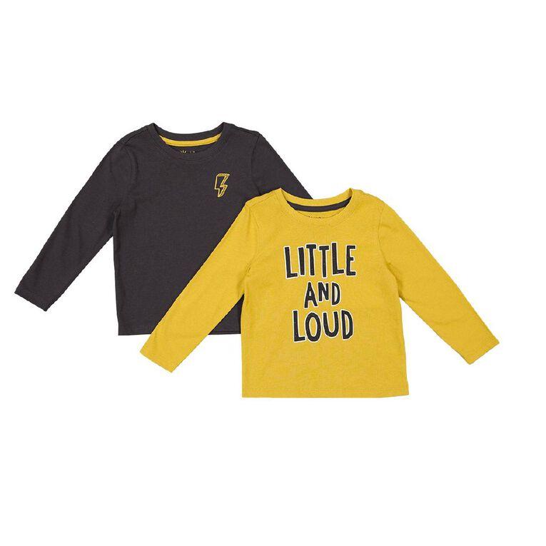 Young Original Toddler Long Sleeve 2 Pack Tees, Yellow Mid, hi-res