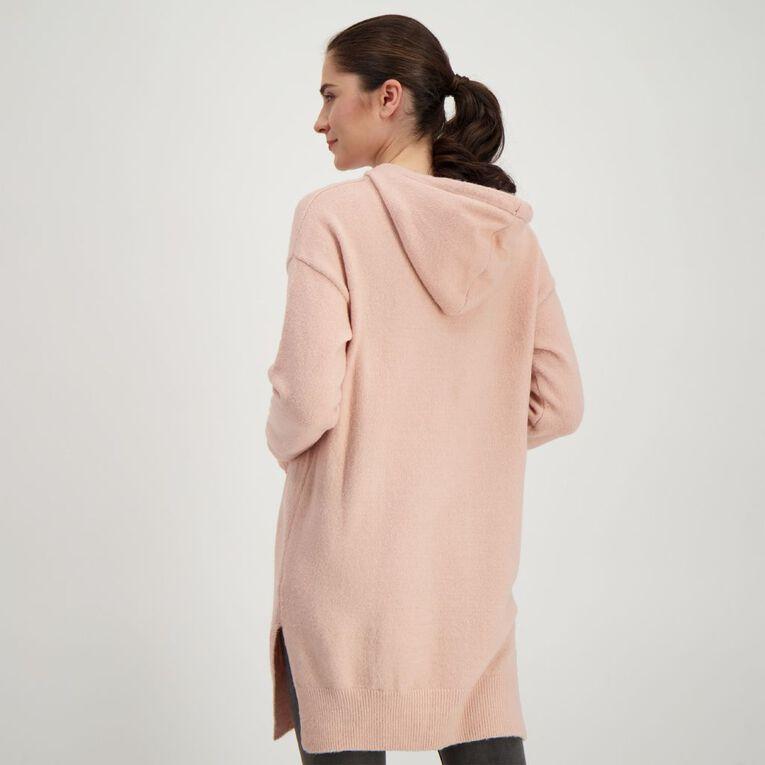 H&H Women's Longline Knit Hoodie, Pink Light, hi-res
