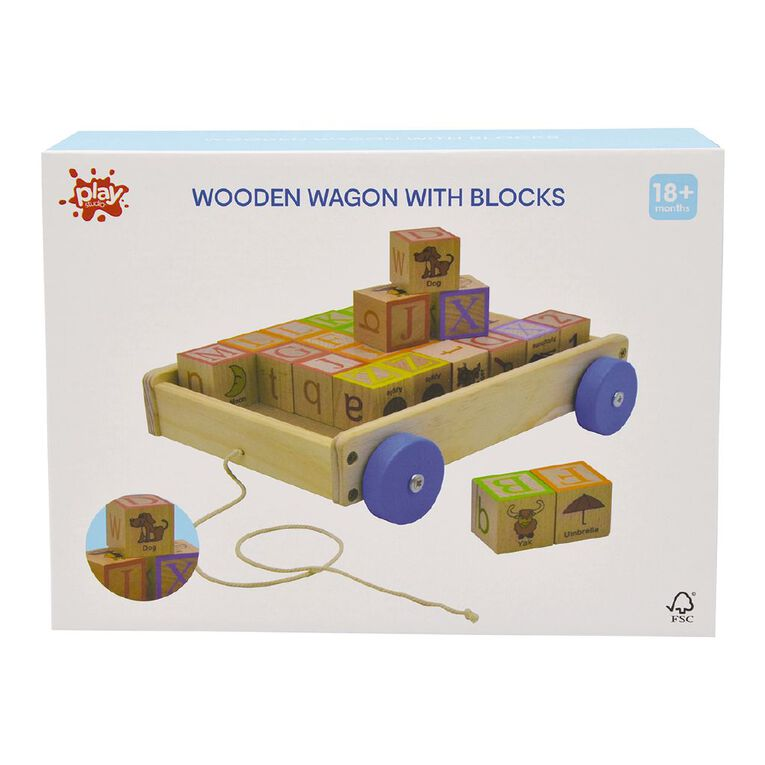 Wooden Wagon with Blocks, , hi-res