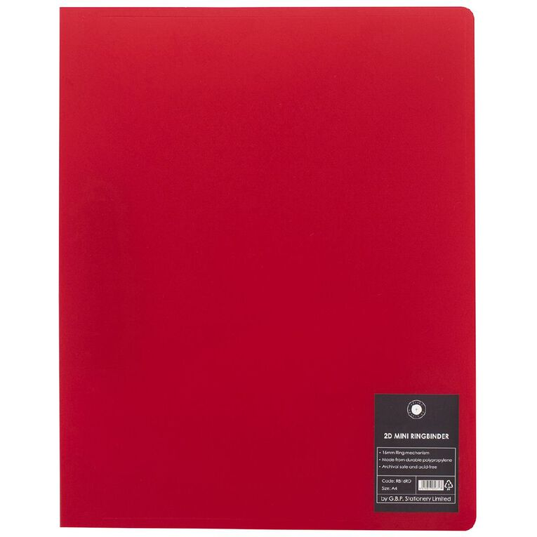 Office Supply Co Mini Ringbinder 16mm 2D Red A4, , hi-res