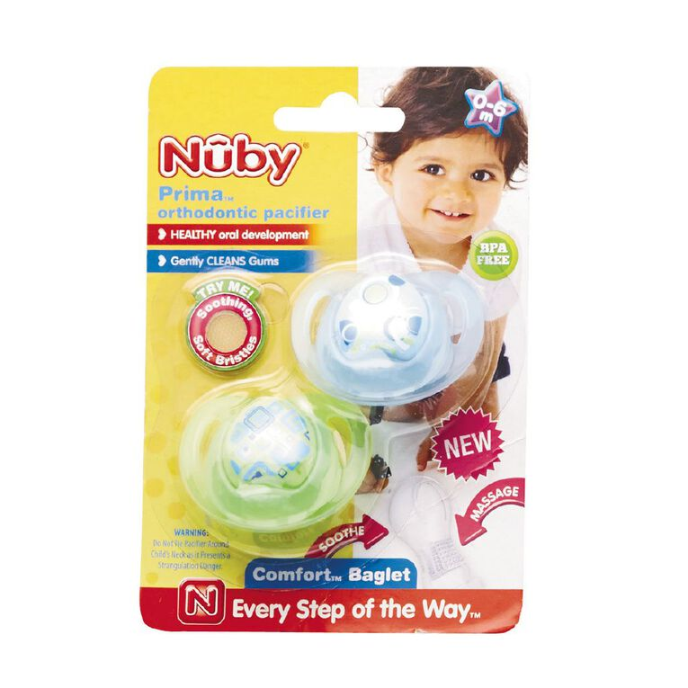 Nuby Prima Orthodontic Pacifier 0-6 Months 2 Pack Assorted, , hi-res