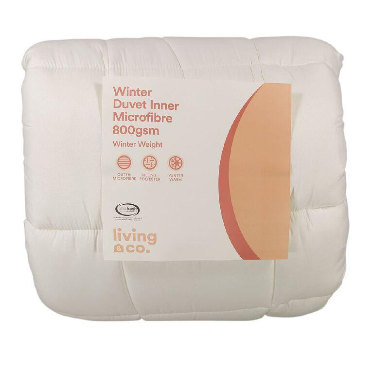 Living & Co Duvet Inner Microfibre Winter 800gsm White Single, White, hi-res