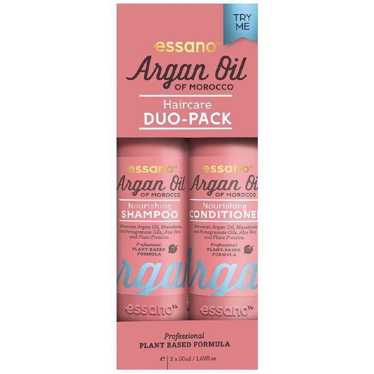 Essano Argan Oil Shampoo and Conditioner Travel Pack 2 x 50ml, , hi-res