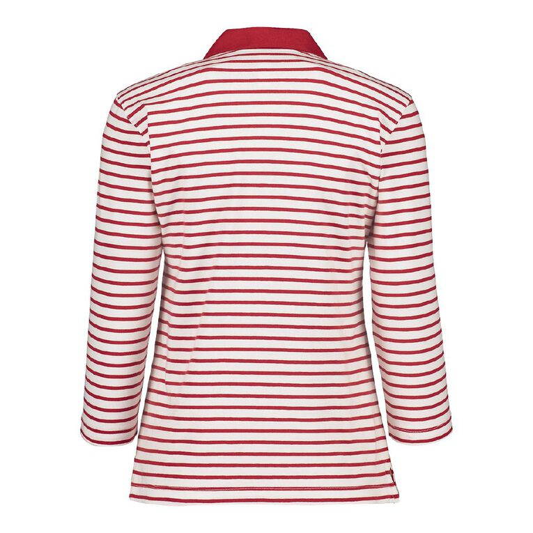 Pickaberry 3/4 Sleeve Polo Shirt, Red/White, hi-res