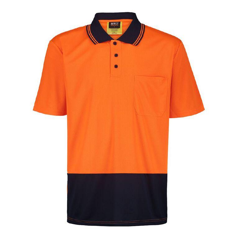 Rivet Short Sleeve Fluoro Compliant Polo, Orange, hi-res image number null