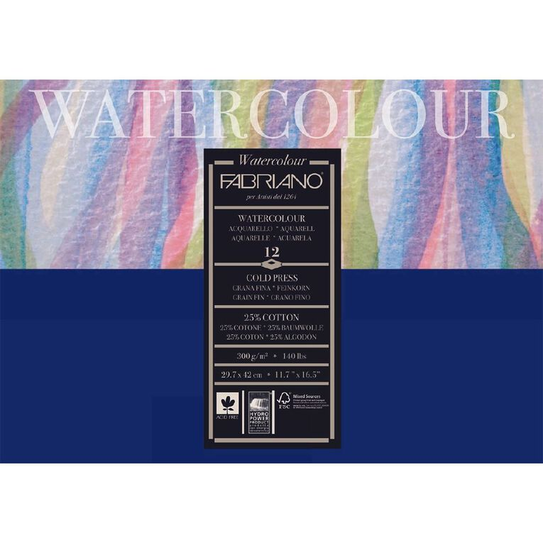 Fabriano Studio Watercolour Pad Cold Pressed 300GSM 12 Sheets A3, , hi-res