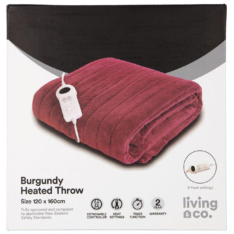 Living & Co Electric Throw 120 X 160cm Burgundy, , hi-res