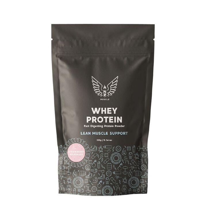 NZ Muscle Whey Protein Strawberry Milkshake 500g, , hi-res