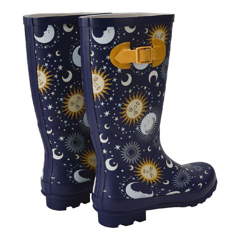 H&H Star Moon Gumboots, Navy, hi-res