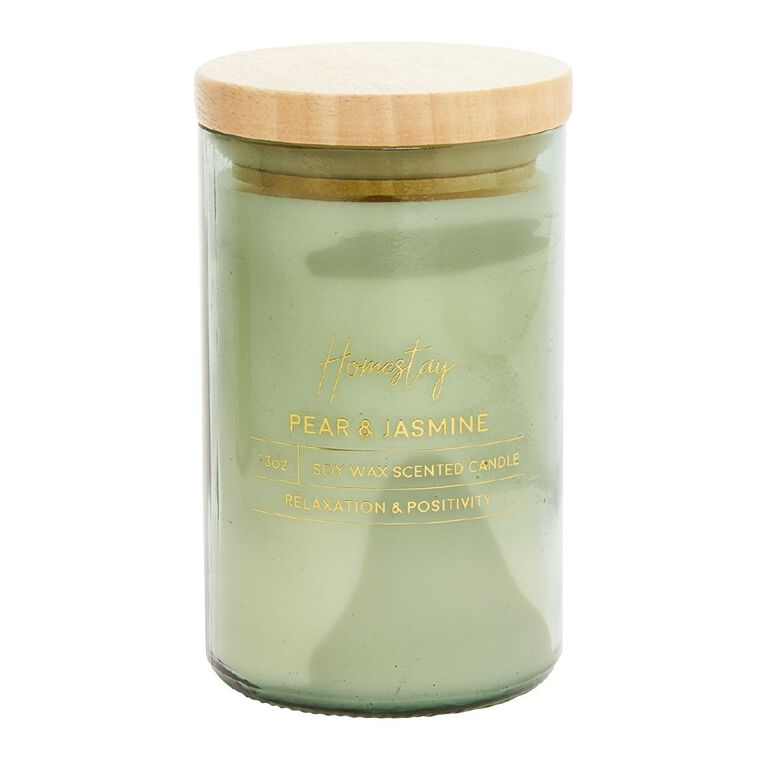 Living & Co Homestay Candle Pear & Jasmine Green 13oz, Green, hi-res