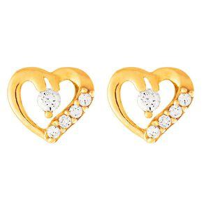 9ct Gold CZ Heart Cluster Stud Earrings