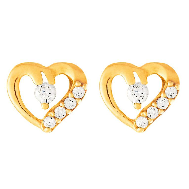 9ct Gold CZ Heart Cluster Stud Earrings, , hi-res