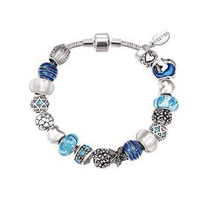 Mestige Silver Plated Blue Swarovski Crystal Ocean Bracelet