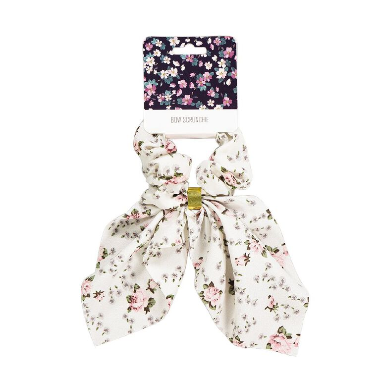 Bow Scrunchie With Gold Embellishment White, , hi-res