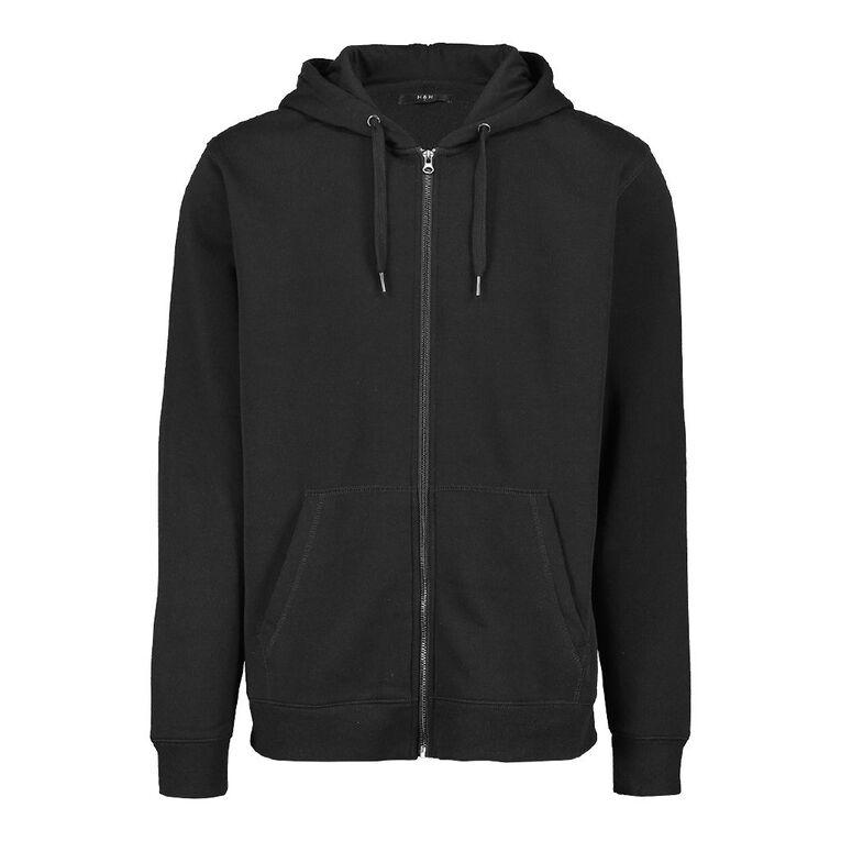 H&H Men's Zip Thru Hooded Sweatshirt, Black, hi-res