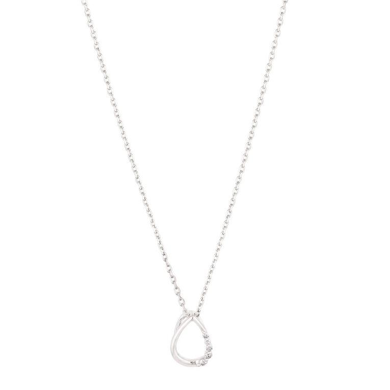 0.03 Carat Diamond Sterling Silver Tear Necklace 45cm Chain, , hi-res