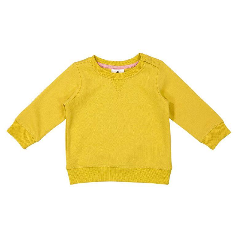 Young Original Baby Plain Patch Sweatshirt, Yellow Mid, hi-res