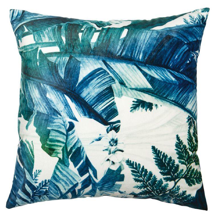 Living & Co Print Velvet Cushion Blue 43cm x 43cm, Blue, hi-res