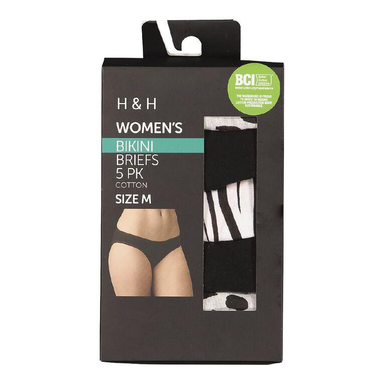 H&H Women's Bikini Briefs 5 Pack, Black/Grey W21 LeoBox, hi-res