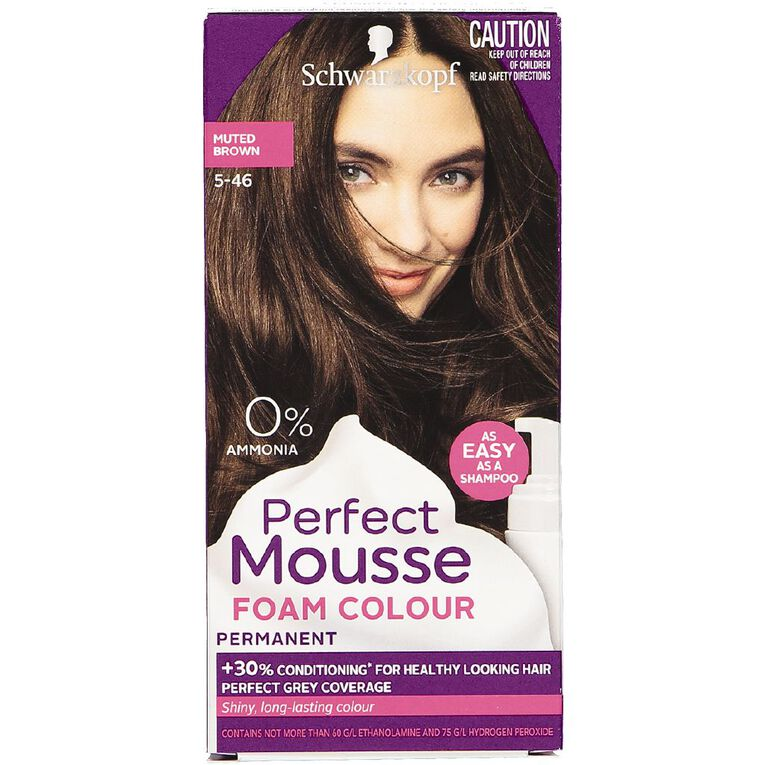 Schwarzkopf Perfect Mousse Hair Colour 5-46 Muted Brown, , hi-res