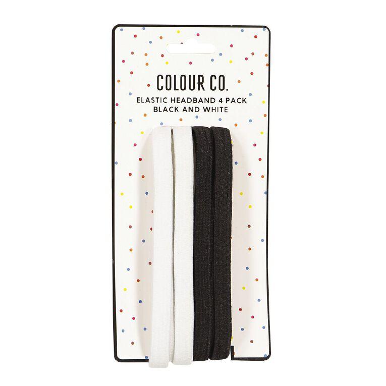 Colour Co. Hair Elastic Headband Black White 4 Pack, , hi-res image number null