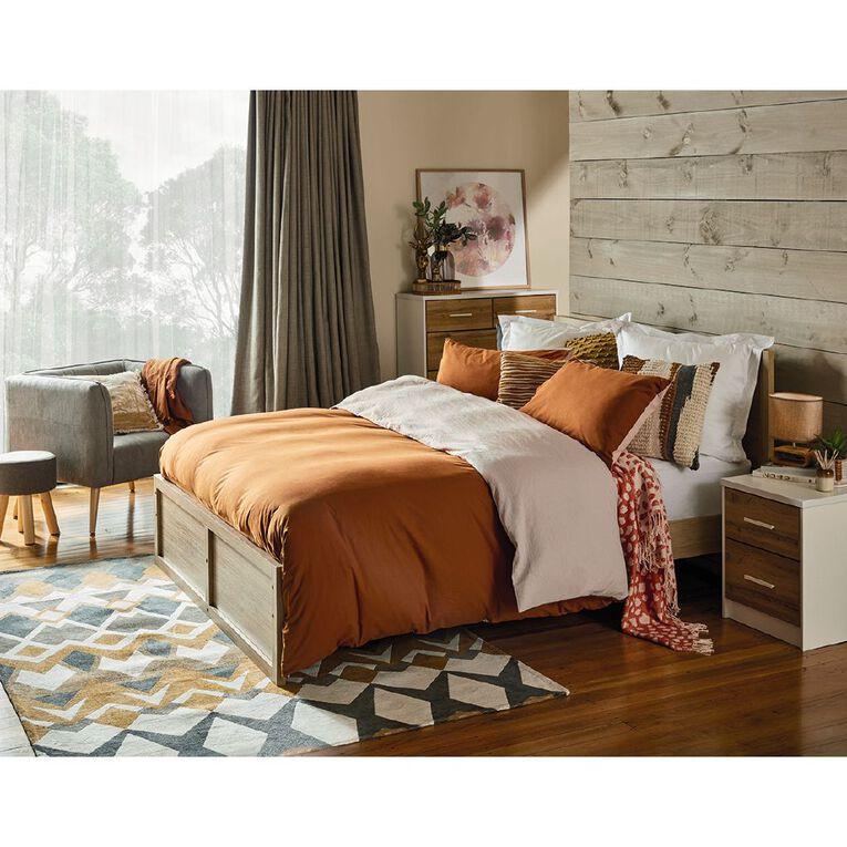 Living & Co Takiwira 2 Drawer Bedside Table White, , hi-res