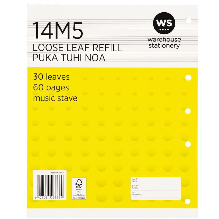 WS Pad Refill 14M5 Music Stave 30 Leaf Punched Yellow, , hi-res