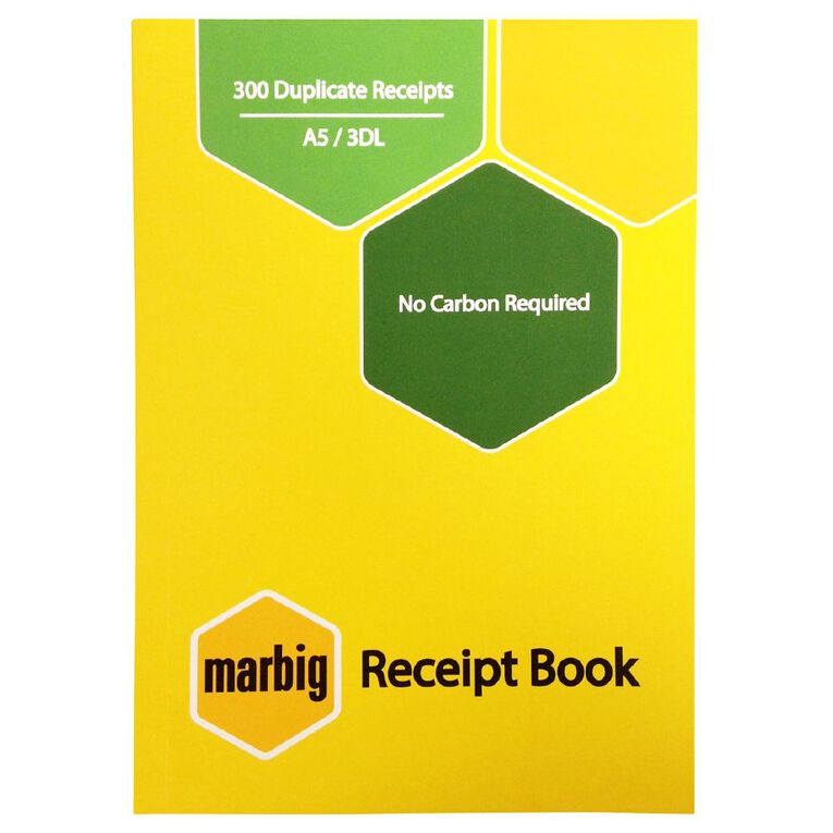 Marbig Receipt Book 3-Up 300R Duplicate Yellow A5, , hi-res