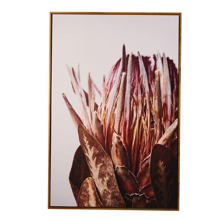 Living & Co Winter Protea Framed Canvas 60 x 90 x 3.5cm, , hi-res