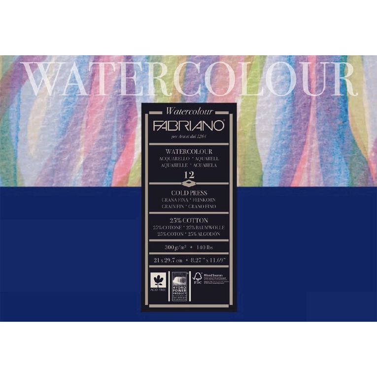 Fabriano Studio Watercolour Pad Cold Pressed 300GSM 12 Sheets A4, , hi-res