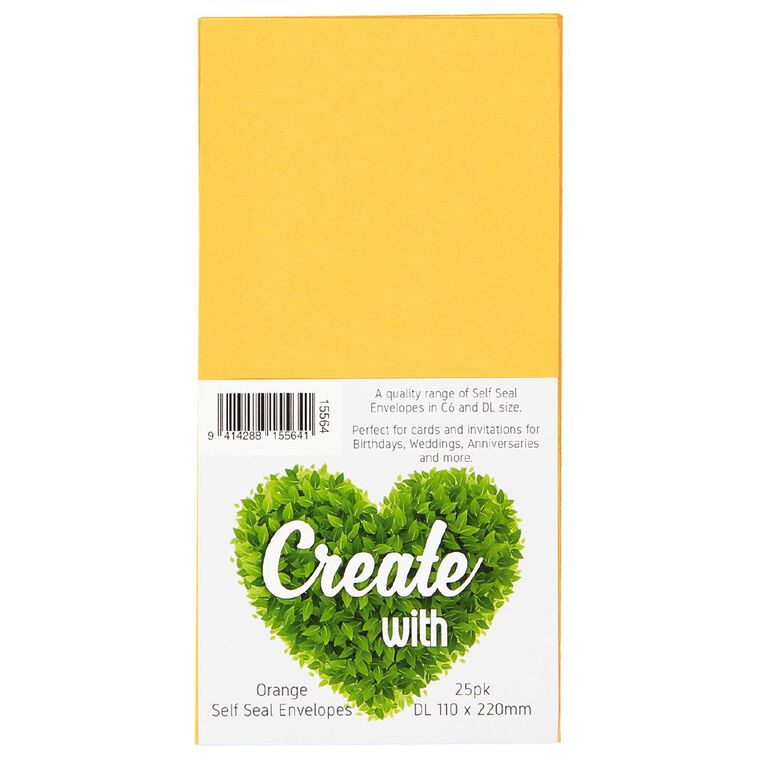 Create With DL Envelope 25 Pack Orange, , hi-res