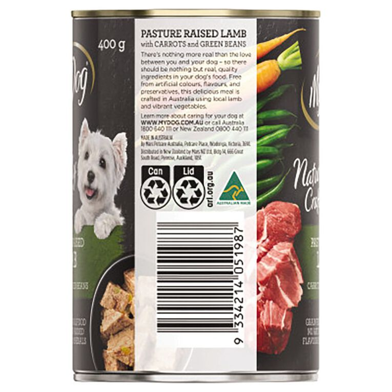My Dog Wet Dog Food Pasture Raised Lamb with Carrots and Green Beans400g, , hi-res