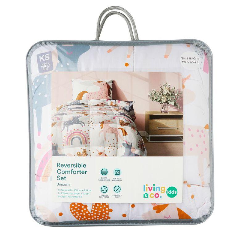 Living & Co Kids Comforter Set Unicorn Rainbows King Single, , hi-res