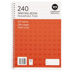 WS Spiral Writing Book 240 Page A4 Wiro Red