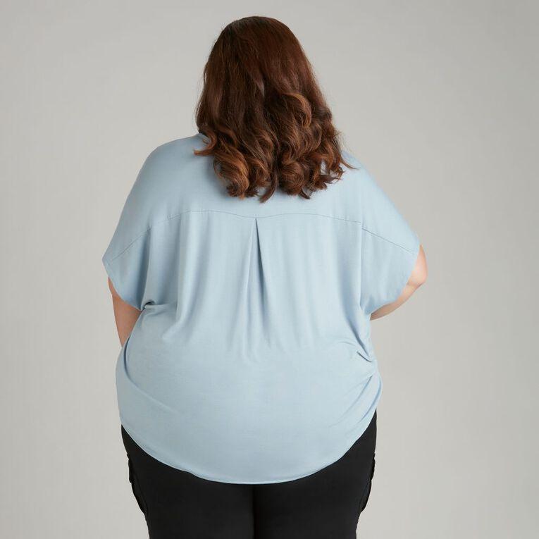 H&H Plus Women's Knit Back Top, Blue Light, hi-res