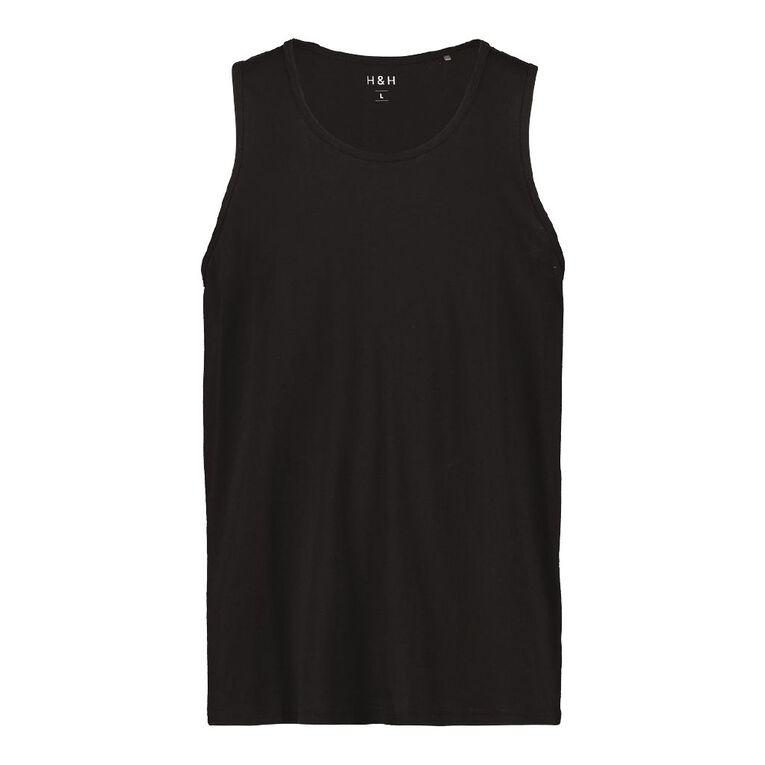 H&H Men's Plain Singlet, Black, hi-res image number null