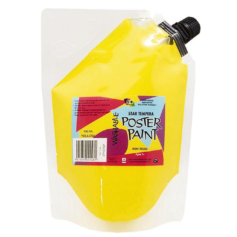 Fivestar Tempera Poster Paint Yellow 1.5 litre Pouch, , hi-res