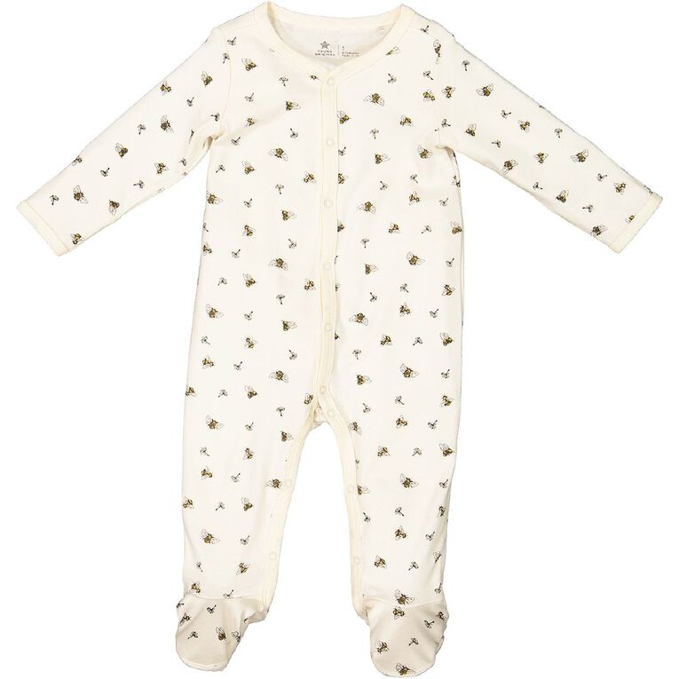 Young Original Baby Organic Cotton All In One, Cream, hi-res