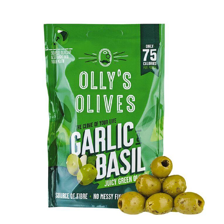 Olly's Olives The Connoisseur Garlic & Basil Green Olives 50g, , hi-res
