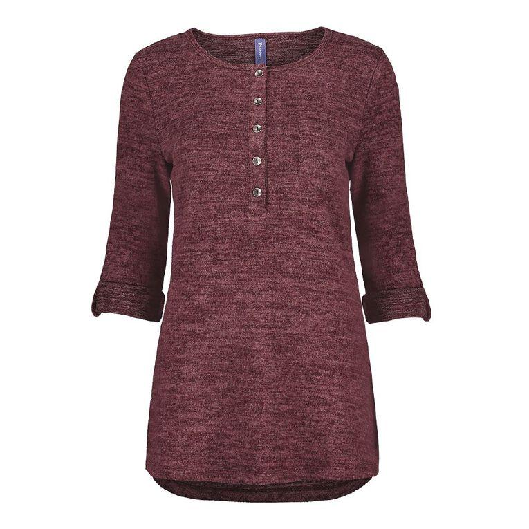 Pickaberry Women's Button Thru Henley, Purple Dark, hi-res