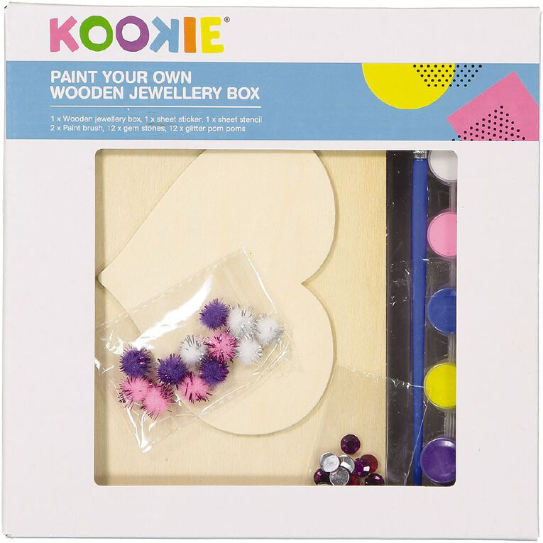 Kookie Paint Your Own Wooden Jewellery Box 23 Pieces, , hi-res